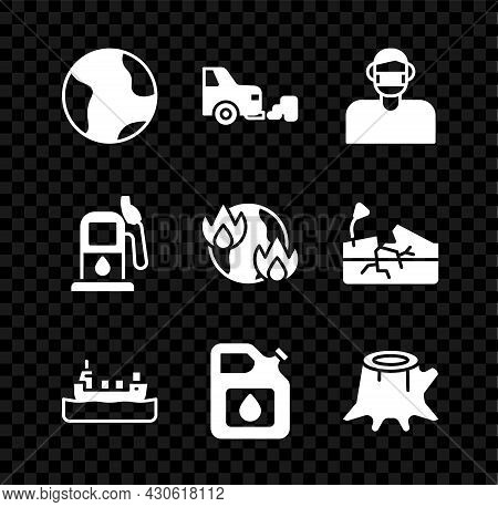 Set Earth Globe, Car Exhaust, Face In Protective Mask, Oil Tanker Ship, Canister For Gasoline, Tree