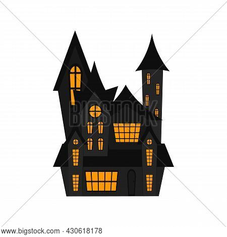 Creepy House Isolated On White Background. Halloween Castle House. Vector Flat Illustration. Witch H