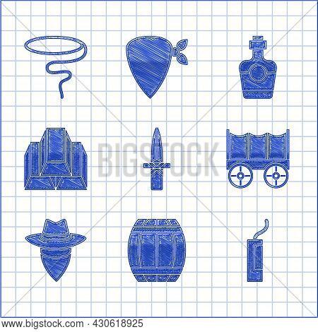 Set Dagger, Gun Powder Barrel, Dynamite Bomb, Wild West Covered Wagon, Cowboy, Gold Bars, Tequila Bo
