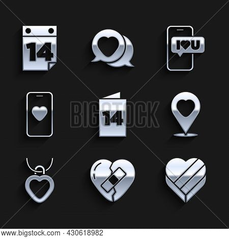 Set Greeting Card, Healed Broken Heart, Candy Shaped Box, Location With, Necklace, Online Dating App