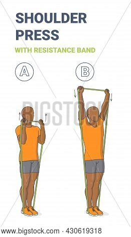 Black Guy Doing Shoulder Press Home Exercise With Resistance Band Guidance. Exercise With Loop.