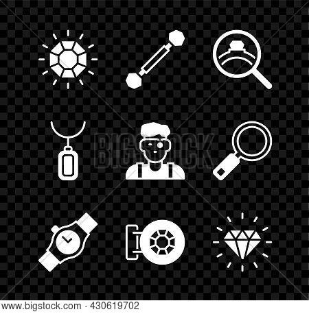 Set Diamond, Piercing, Engagement Ring, Wrist Watch, Jewelry Store, Pendant Necklace And Jeweler Man
