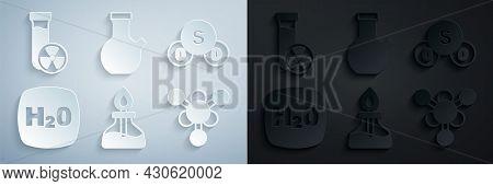 Set Alcohol Or Spirit Burner, Sulfur Dioxide So2, Chemical Formula H2o, Molecule, Test Tube And With
