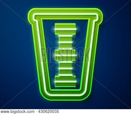 Glowing Neon Line Measuring Cup To Measure Dry And Liquid Food Icon Isolated On Blue Background. Pla