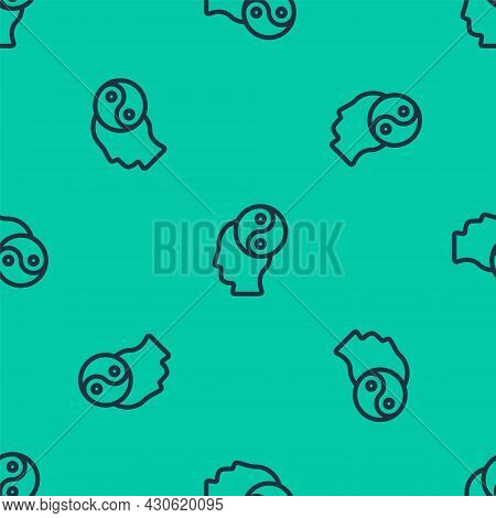 Blue Line Yin Yang Symbol Of Harmony And Balance Icon Isolated Seamless Pattern On Green Background.