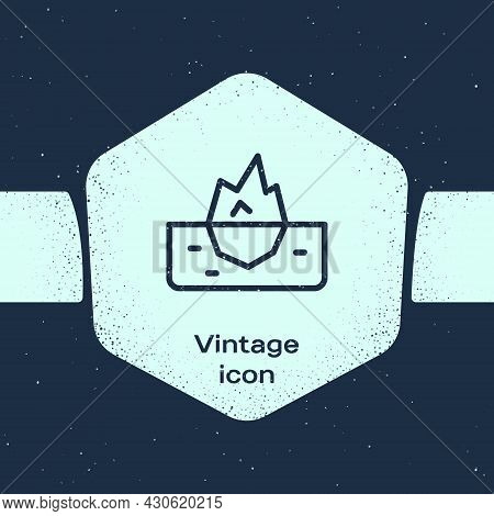 Grunge Line Iceberg Icon Isolated On Blue Background. Monochrome Vintage Drawing. Vector