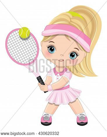 Cute Little Girl Wearing Pink And White Sport Outfit Playing Tennis. Little Girl Is Blond With Ponyt