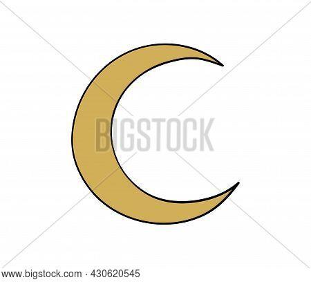 Golden Crescent Moon, Flat Heavenly Boho Icon For Magic Design, Tarot. Vector Illustration Isolated