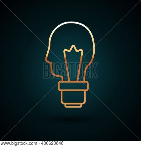 Gold Line Light Bulb With Concept Of Idea Icon Isolated On Dark Blue Background. Energy And Idea Sym