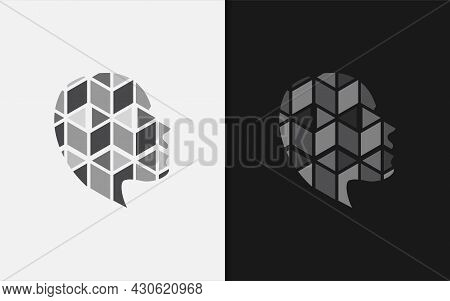 Abstract Head Silhouette Logo With Geometric Square Cubic Inside Combination. Graphic Design Element