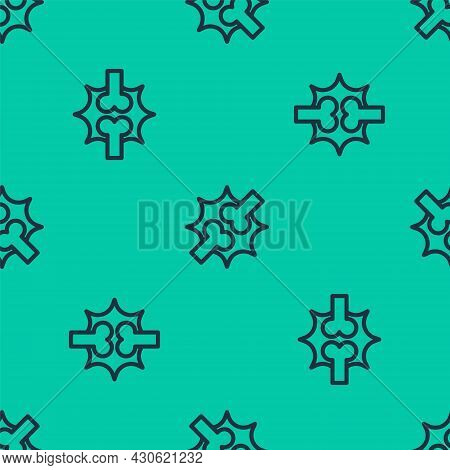 Blue Line Joint Pain, Knee Pain Icon Isolated Seamless Pattern On Green Background. Orthopedic Medic