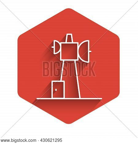 White Line Antenna Icon Isolated With Long Shadow Background. Radio Antenna Wireless. Technology And