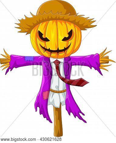 Vector Illustration Of Cartoon Creepy Halloween Pumpkin Scarecrow