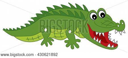 Cute Cartoon Green Crocodile With The Open Mouth Crawling. Vector Crocodile. Alligator Vector Illust