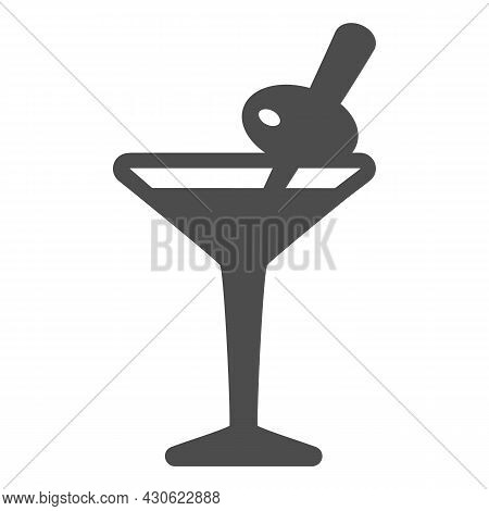 Glass Of Martini With Olive On Toothpick Solid Icon, Bar Concept, Vermouth Cocktail Vector Sign On W