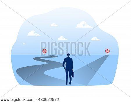 New Way Concept. Beginning Journey Adventures And Opportunities. Businessman On Road Outdoor. Illust