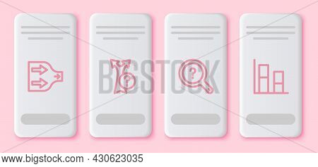 Set Line Arrow, , Unknown Search And Graph, Chart, Diagram. White Rectangle Button. Vector