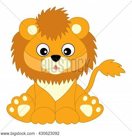 Cute Happy Baby Lion Sitting. Vector Baby Lion. Lion Cub Vector Illustration