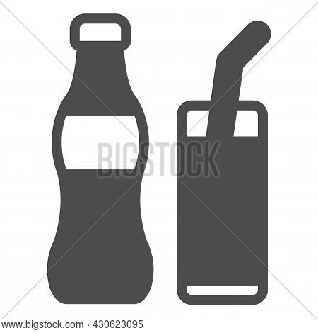 Soda Bottle With Glass And Straw Solid Icon, Beverage Concept, Soft Drink Vector Sign On White Backg