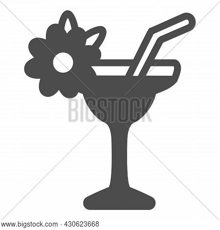 Margarita With Floral Decoration, Garnished Cocktail Solid Icon, Bar Concept, Daiquiri Vector Sign O