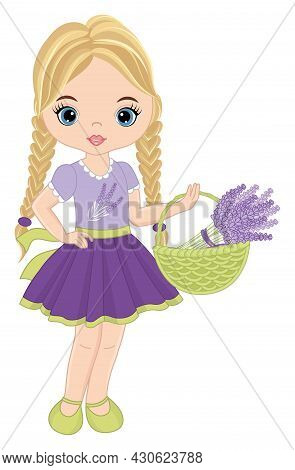 Beautiful Girl Wearing Pastel Purple And Mint Dress Holding Basket Of Lavender. Cute Girl Is Blond W
