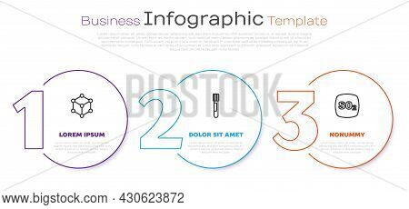 Set Line Molecule, Test Tube And Sulfur Dioxide So2. Business Infographic Template. Vector