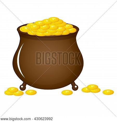 Irish Pot Full With Golden Coins. Vector St. Patricks Day. St. Patricks Day Traditional, National Ho