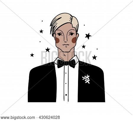 Groom Icon. Linear Drawing Of A Young Man In A Suit, Vintage Illustration, Hand Drawing. Full Color