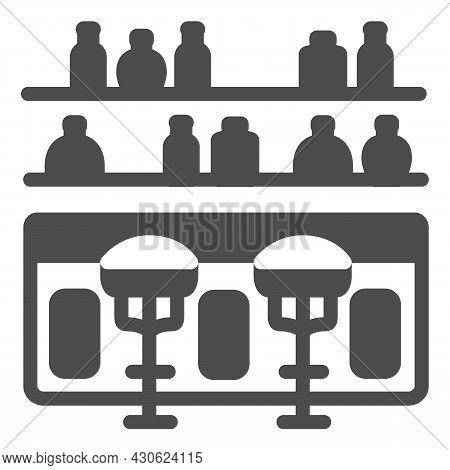Bar Counter With Stools And Bottles Solid Icon, Bars And Pubs Concept, Pub Interrior Vector Sign On
