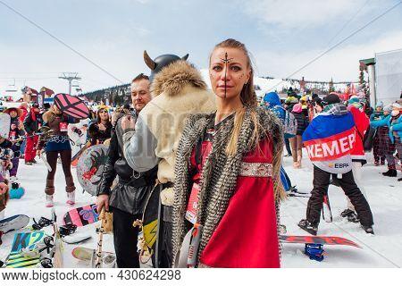 Sheregesh, Kemerovo Region, Russia - April 03, 2021: Grelka Fest In Sheregesh. Young People In Carni