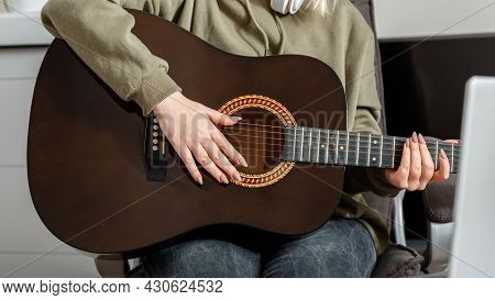 Online Classes Course Guitar Training Music E Education During Lockdown. Long Web Banner. Online Mus