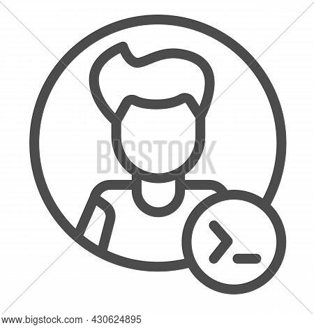 Guy, Command Line In Circle, Backend Developer Line Icon, Ui Concept, Programmer Vector Sign On Whit