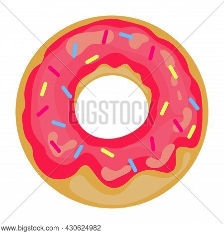 Cute, Colorful And Glossy Donut With Sweet Glaze And Multicolored Powder. Sprinkled Donut Icon