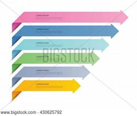 6 Data Infographics Tab Paper Index Template. Vector Illustration Abstract Background. Can Be Used F