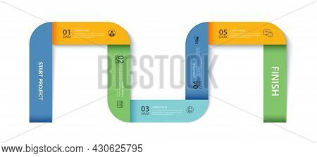 5 Data Infographics Timeline Tab Paper Index Template. Vector Illustration Abstract Background. Can