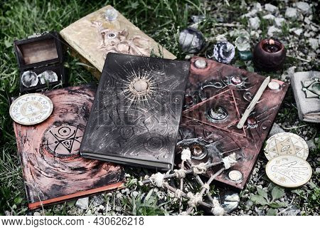 Grunge Still Life With Magic Book, Witch Objects, Pentagram And Candle.  Esoteric, Gothic And Occult