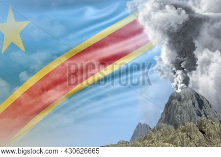 Volcano Eruption At Day Time With White Smoke On Democratic Republic Of Congo Flag Background, Probl