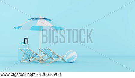 Blue Luggage, Suitcase, Travel Bag, Sunglasses, Beach Ball, Beach Umbrella And Beach Chair On Blue B