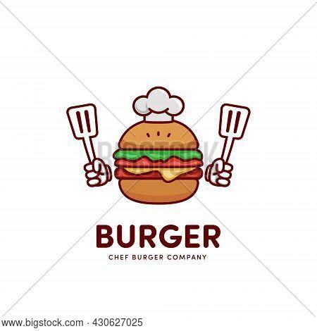 Chef Burger Hamburger Cartoon Mascot Logo Icon Holding Spatula
