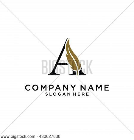 Initial Letter A Logo With Feather Concept. Design Concept Luxury Feather Element And Letter A For C