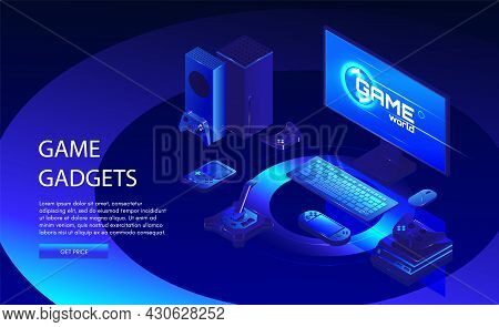 Game Gadgets Web Banner Template. Gamers Equipment. Game Console, Controller, Computer, Vector Isome