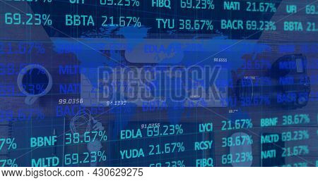 Image of financial data processing over desk with computer. global finance and business concept digitally generated image.