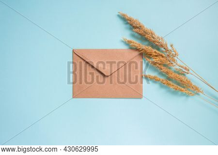 Blank Form Of Beige Envelope Lies On A Bright Blue Background Near Wheatgrass. High Quality Photo