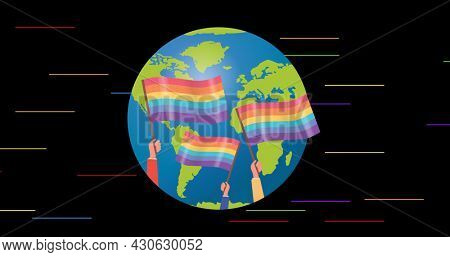 People holding lgbtq flags over globe on black background with rainbow stripes. lgbtq pride and equality celebration concept digitally generated .