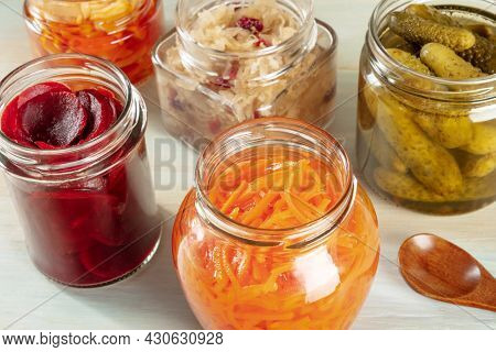 Fermented Food. Canned Vegetables. Pickled Carrot, Beet, Sour Cabbage And Other Organic Preserves In