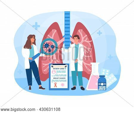 Lung Cancer Concept. Doctors Examine Patient Lungs And Make Diagnosis Of Oncology. Severe Disease Of