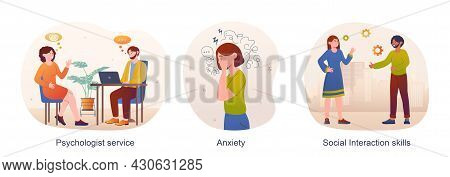 Mental Health Concept. Psychologist Service, Anxiety, Social Interaction Skills. Confused People Loo
