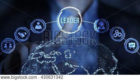 Internet, Business, Technology And Network Concept.successful Team Leader.  Business Leadership Conc