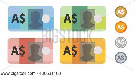 Australian Dollar Australia Bank Notes Currency Icon Set Collection Paper Money And Coin