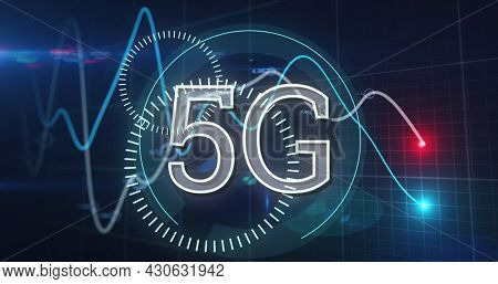 Image of 5g text with scopes spinning over lines financial data processing. global finances network digital interface concept digitally generated image.